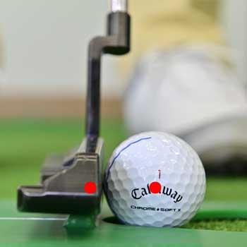画像: 1cmのバーの上を通ると、ボールとパターの重心がそろう。こうして見ると結構パターヘッドは高い位置だということわかる。