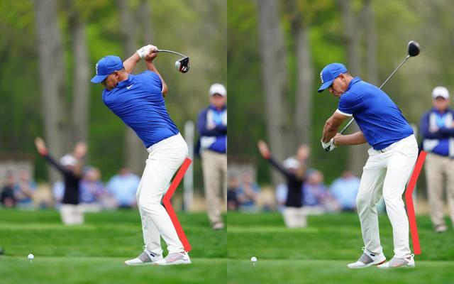 画像: 蹴り上げることで腰が回転、左脚は伸びていく