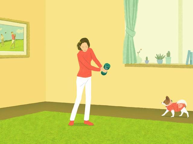 画像: ダンベルぐらい重いモノを持って振ると、腕力に頼らずに、足→腰→腕と正しい順序で動くようになる