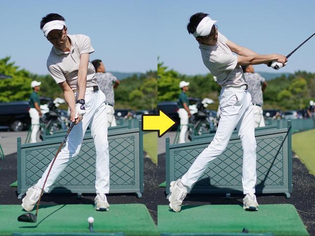 画像: インパクト周辺で完全に肩と腰が開いていて、極端に左へ引っ張っている
