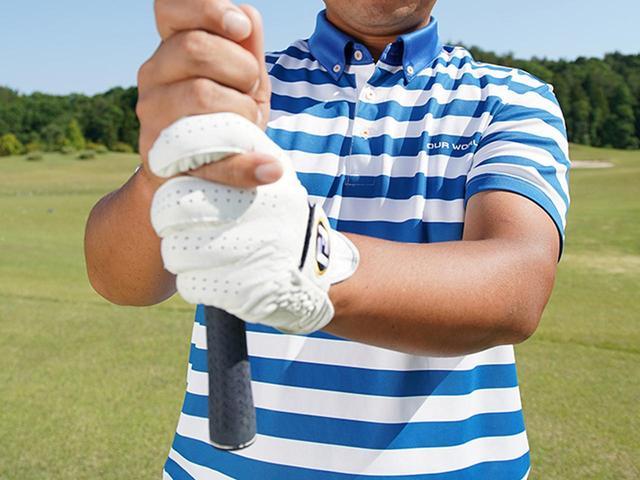 画像: 短く握るとクラブの特性が変わります
