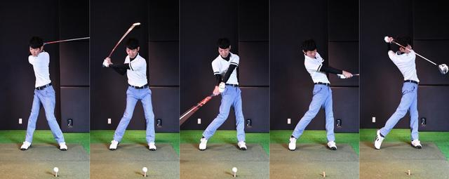 画像: ダウンで手首をリリースするタイミングが不安定なことが、球がバラつく要因。また上半身と下半身が同時に回ってしまうことで、ヘッドが効率よく走らない