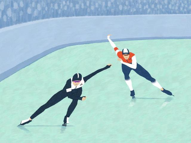 画像: 腰をスライドさせてから上半身が入れ替わる。スピードスケートと同じ動き