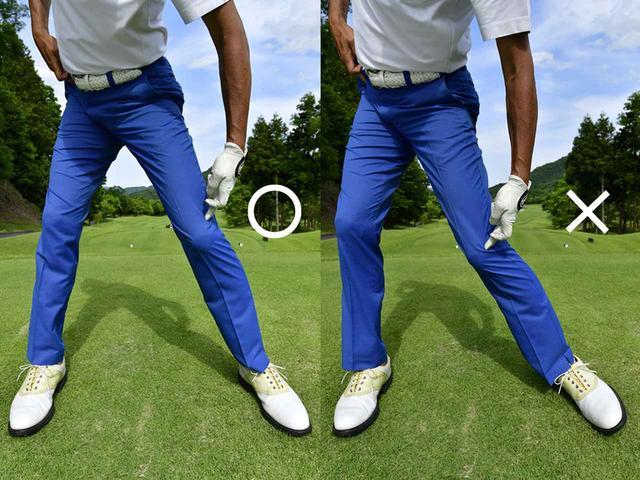 画像: 〇左ひざをとめて右股関節に体重を乗せる、×スウェイするとひざも腰も流れる