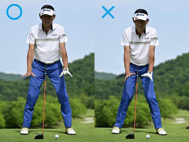 画像: 〇つま先とひざは少し外向き、×ひざを内に入れると手に力が入る