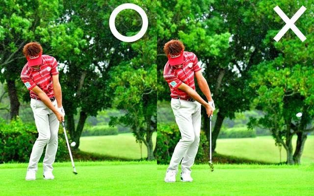 画像: 〇へッドは加速しても出球がゆっくりで距離が合う、×手元を出すとスピンは効くが距離感が出ない