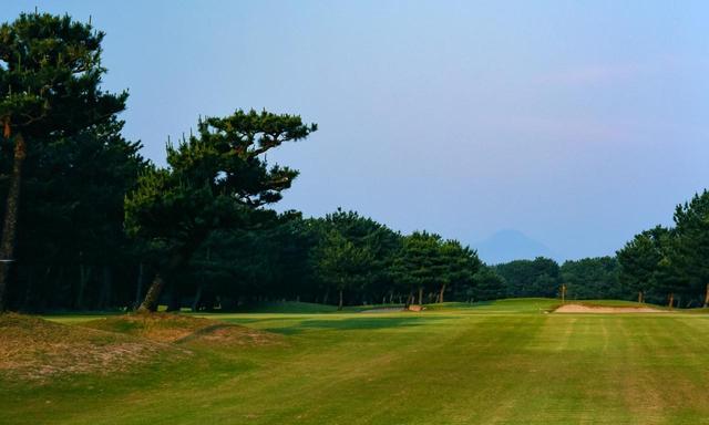 画像: 米子ゴルフ場 14番 松に囲まれた広くて長いホール