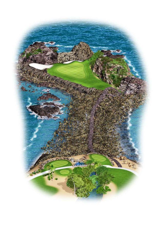 画像: パシフィココース3番  ホワイトティで121ヤード、ブラックティで181ヤードの海&岩礁越え(Hole Illust/golfpuntamita.com)