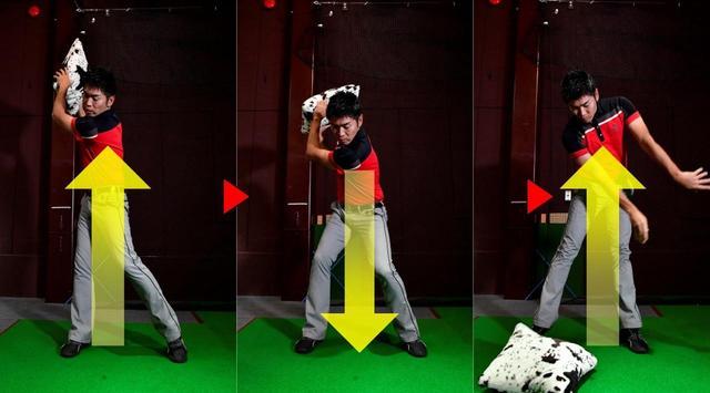 画像: クッションなどを使い、持ち上げて下向きに投げると、伸び上がりやリリースのタイミングがわかる