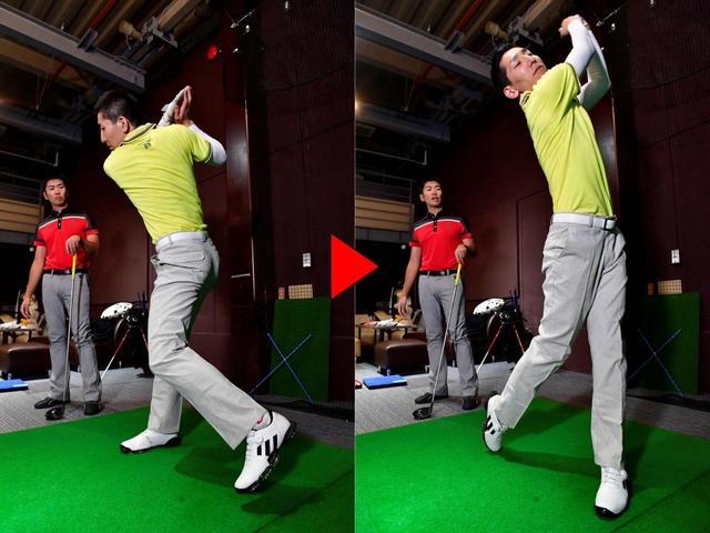 画像: ヒールダウンをきっかけに、左腰を積極的に回転させることで、元々の回転のよさを生かせる