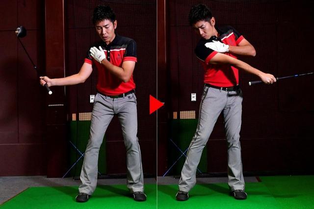 画像: 左に乗りすぎるとバランスが崩れるので、右肩を支点にフォローで顔と右肩がこすれるくらい右に重心を残して振るのがやりやすい