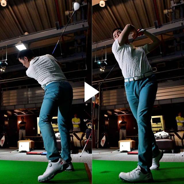 画像: タイミングよく伸び上がることで、フォローの左腰の回転速度が速くなった