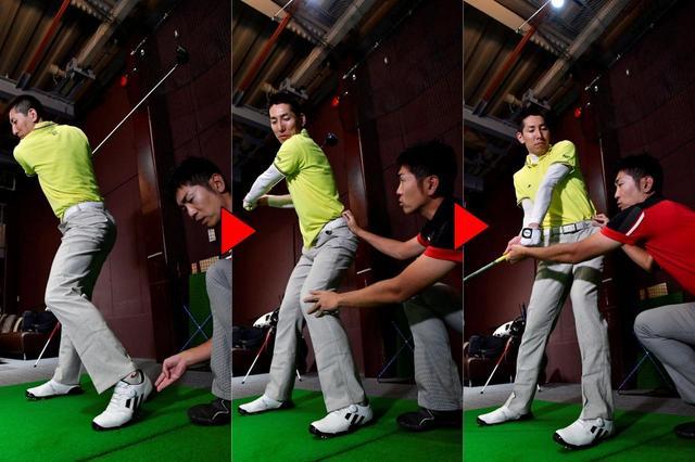画像: もともとの回転は殺さずに、左足のヒールアップ、ダウンを加えると「回転力×反力」で、さらにヘッドを加速できる