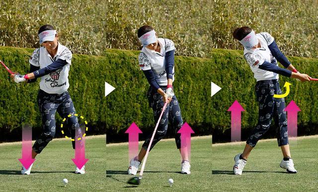 画像: 左ひざが流れず正面を向いたまま下ろし、フォローではジャンプしつつ左腰は90度開く