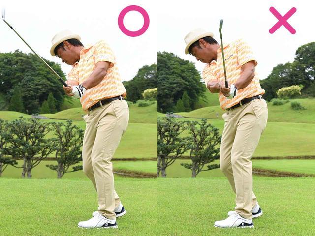 画像2: インテンショナルフックのスタンス…右を向いてスタンスの方向に振る