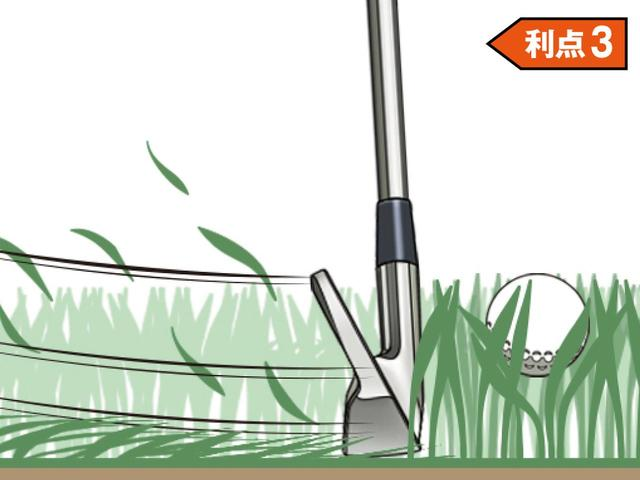 画像: アッパーに振る利点3 ソールが滑ってヘッドが抜けやすい