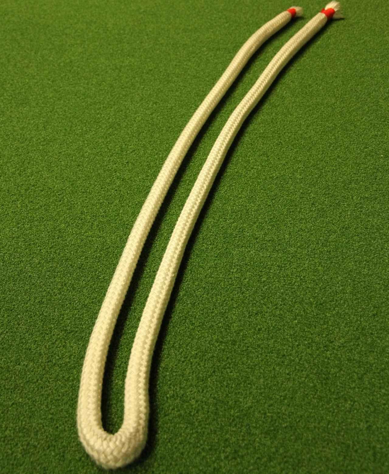 画像: 船の係留などに使うロープ。直径20ミリ程度の太めのものを、2メートルほどの長さに切り、それを半分に折って使う