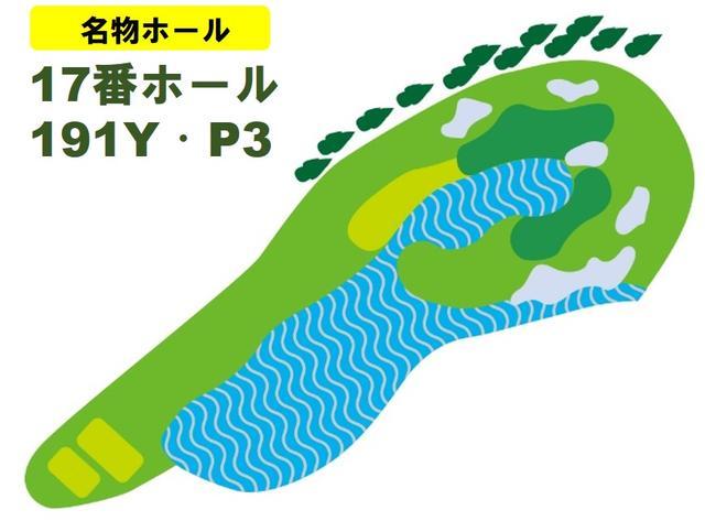 画像: グリーン周辺は池に囲まれ、左の林はOB。ショットの正確性が問われる
