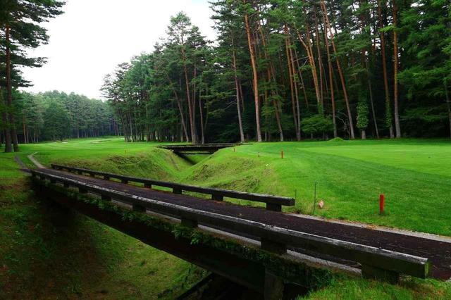 画像: 東コース8番のグリーン周り。クリークがグリーン手前に走る