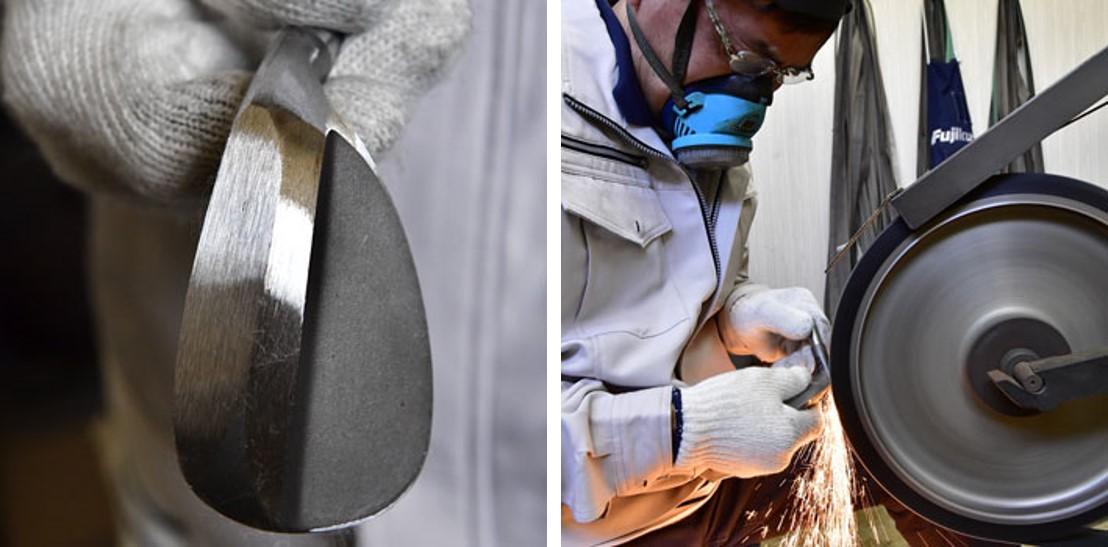 """画像: (左)兵庫県市川町の「共栄ゴルフ」から購入する軟鉄の塊""""タネ""""が基礎となる (右)そのタネから削って(切って)いく"""