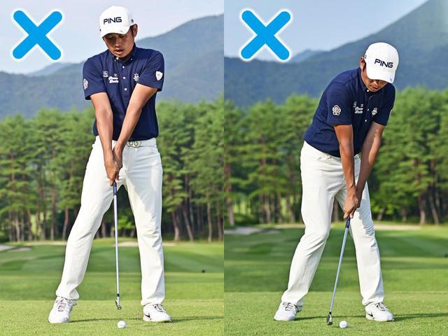 画像: 腹筋にチカラが入らないと上体が伸び上がったり、腕で打ちにいくと右肩が突っこむミスに