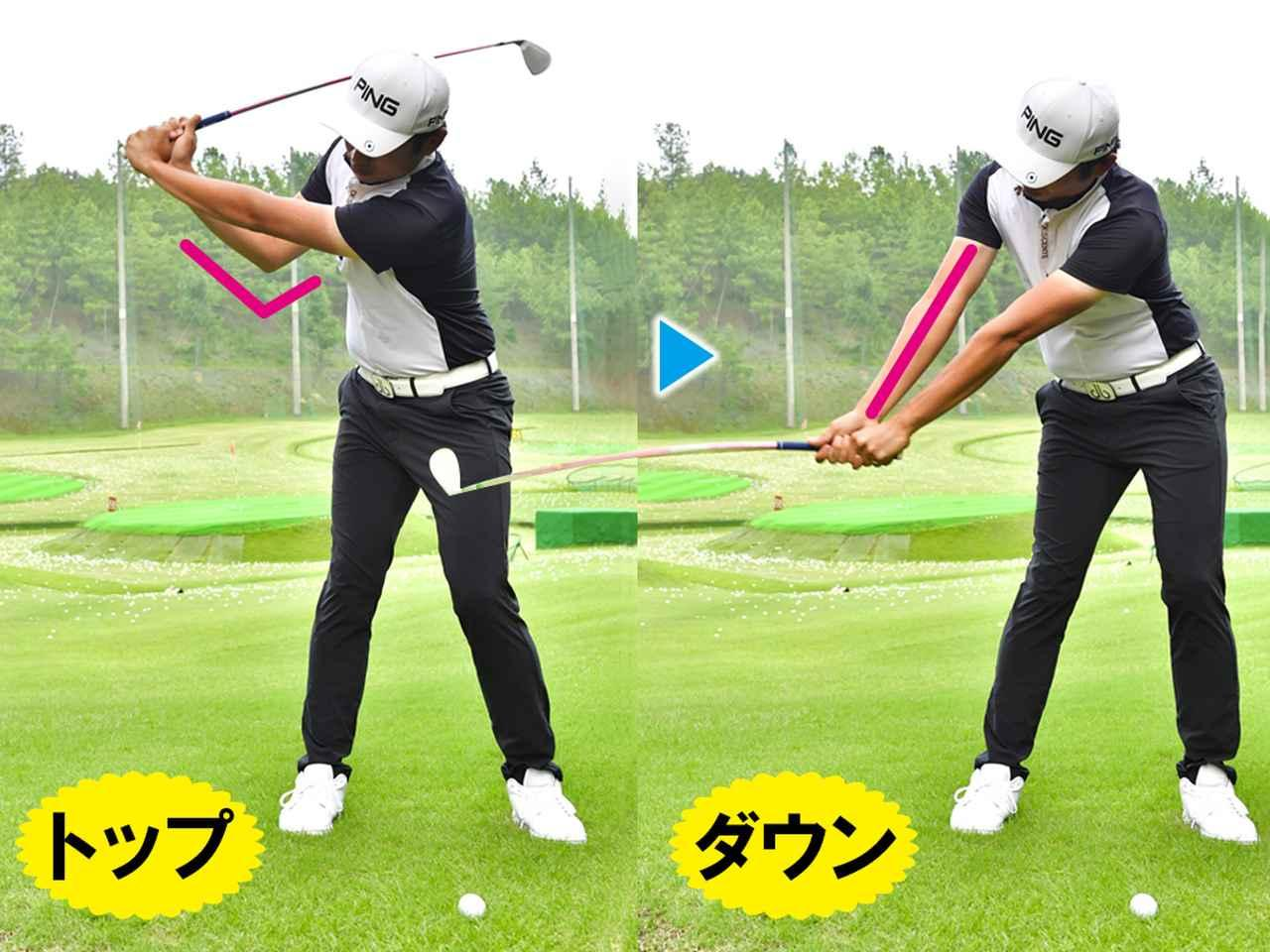 画像1: 右ひじを伸ばして入射角をゆるやかにするのがポイント