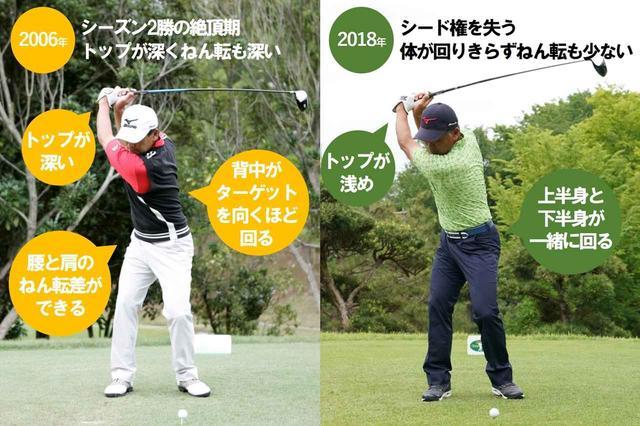 画像: 手嶋プロも齢と腰の怪我でスウィングに変化が…