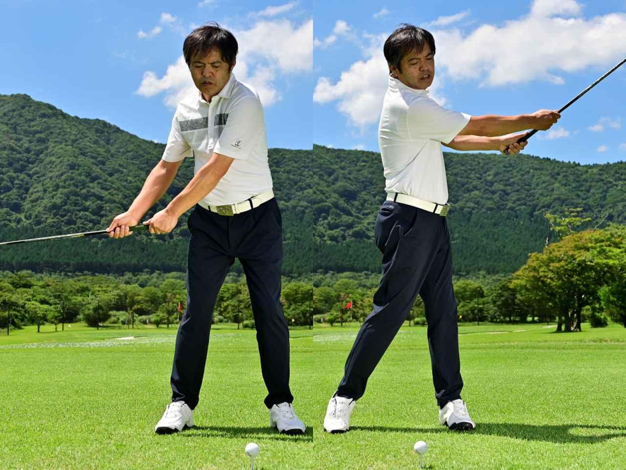 画像: 「スプリットハンドで握り、肩の入れ替えで腰から腰までクラブを動かせば『体の回転』、『左わきの締まり』、『右腕の伸び』が体感できる」
