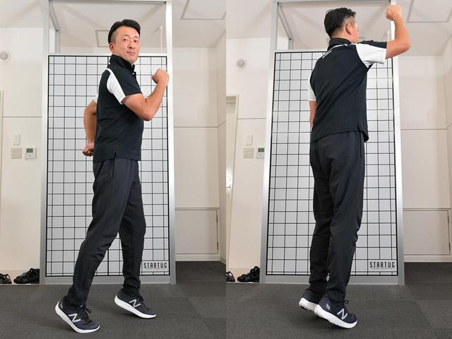 画像: 「ジムに通わなくても、かかとを上げて歩いたり、通勤電車でかかとを上げて立つだけでも十分筋肉を刺激することができますよ」(安福)