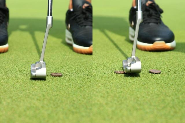 画像: 葭葉ルミ 10円玉2枚重ね素振り。上の10円玉だけをヒット