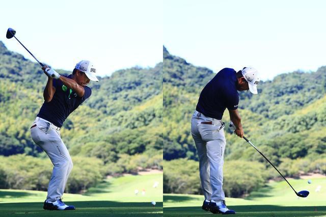 画像: ダウンスウィング(写真左)が地面に力を加えるタイミング