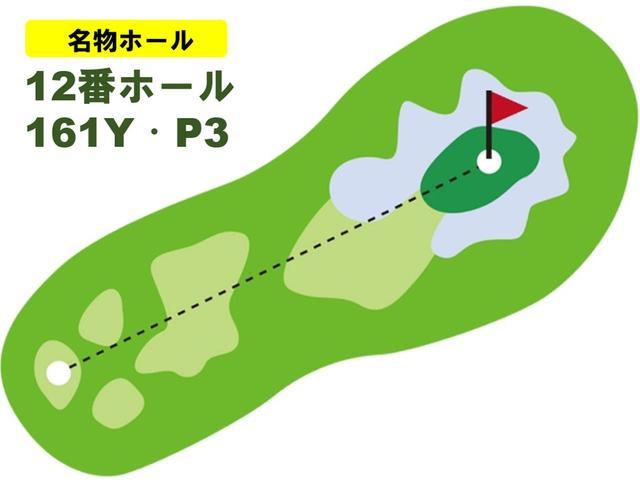 画像: バックティで161ヤードと距離は長くないが、右手前の花道以外、グリーンはバンカーに囲まれている。縦に2段のグリーンで奥に上る傾斜だが、芝目は左から右と複雑。ピンと同じ段に乗せないとパーは難しい