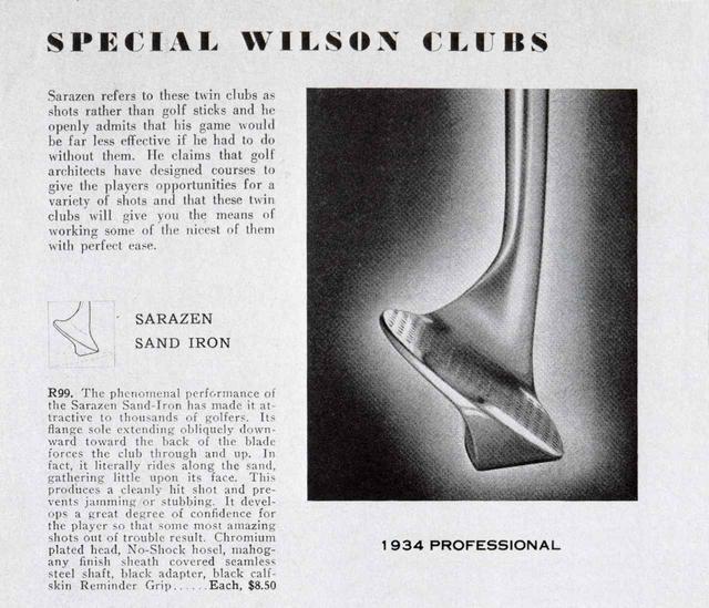 画像: サラゼンが考案したウェッジ「1934 PROFESSIONAL」の広告