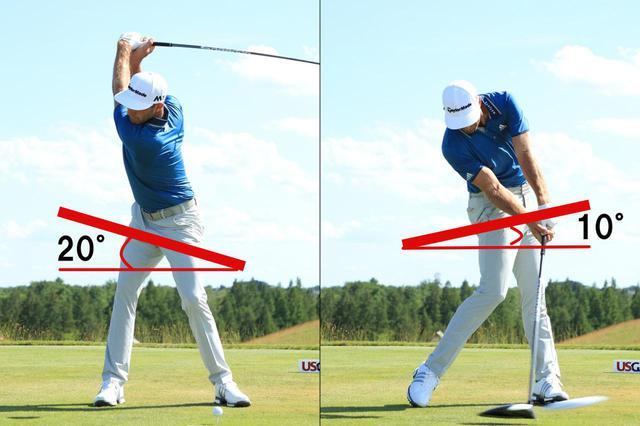 画像: 骨盤の傾きはひざの曲げ伸ばしによって生じる。バックスウィングでは骨盤は20度左に傾き、インパクトでは10度右に傾くのが理想的。地面反力を上手に利用している証拠といえる