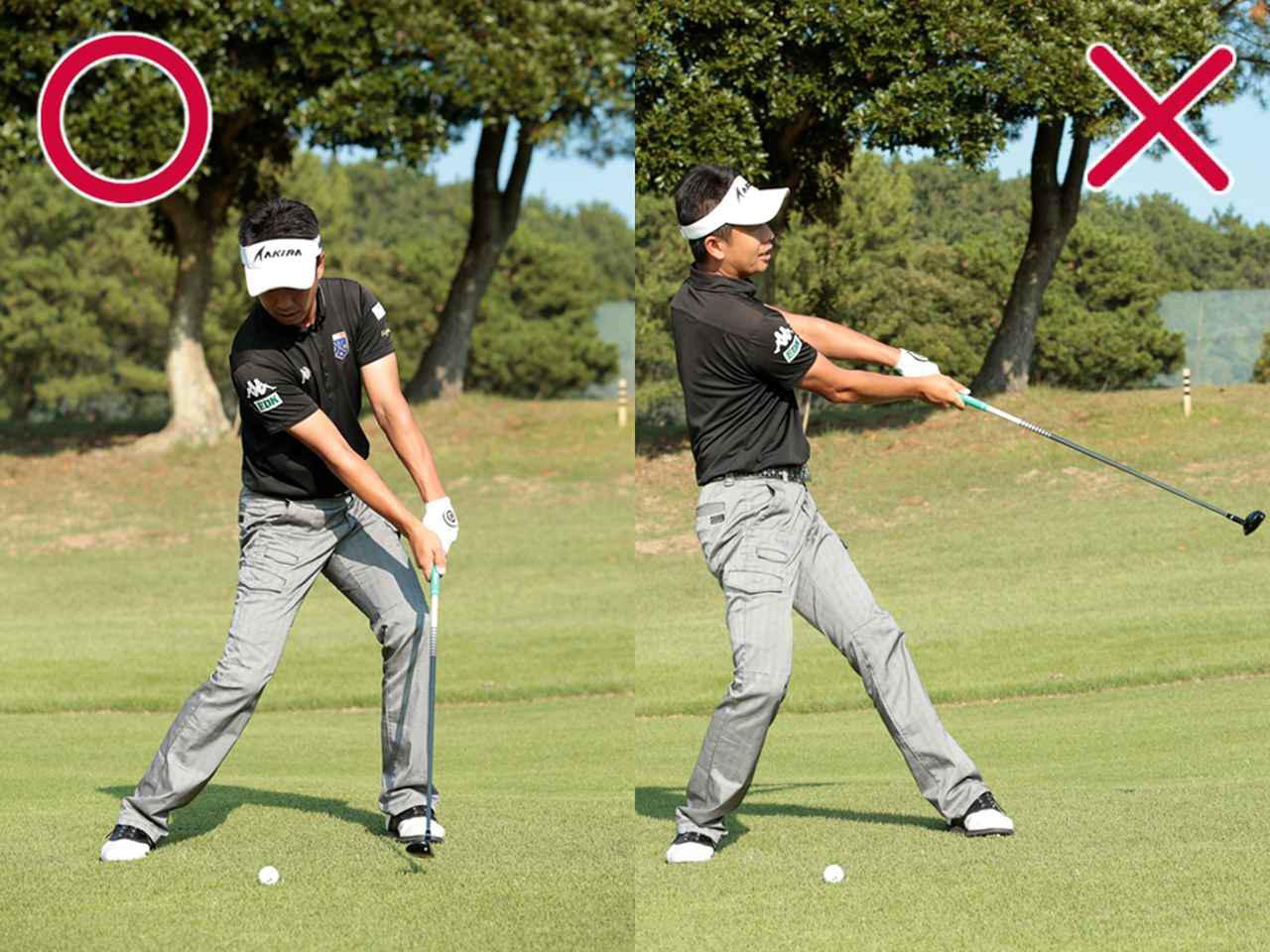 画像: 【スウィングのPOINT②】 右足を蹴って左足の上で回転