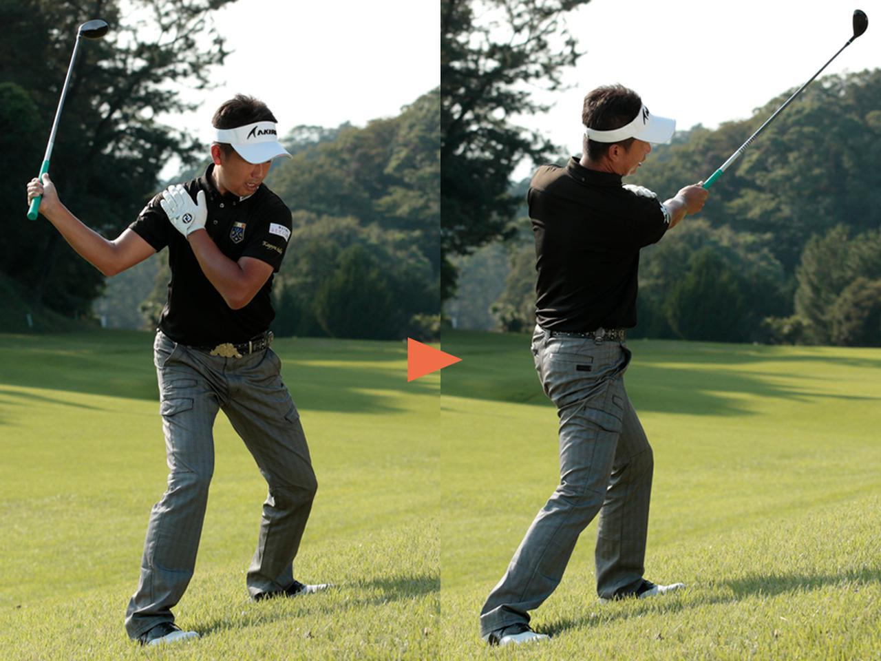 画像: スウィングのPOINT③ …右肩を支点に横振り