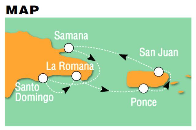 画像: カリブの航海ルートはご覧の通り