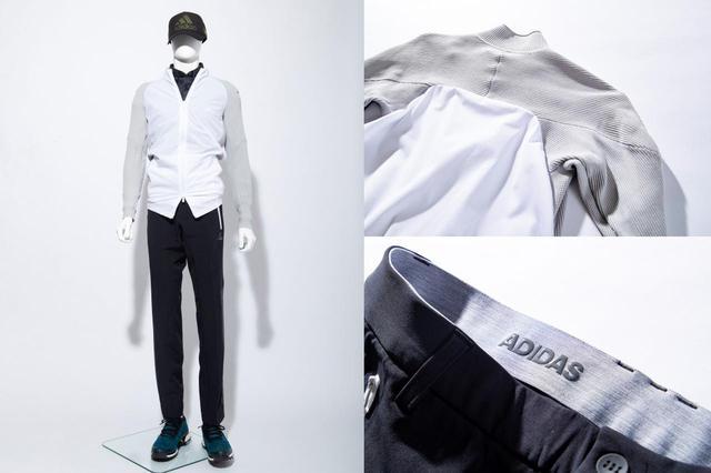 画像: ブルゾンは背中から腕にかけて伸縮性の高いリブ仕立て。ウエストのアディアスロゴはシャツが裾が出にくいすべり止め仕様