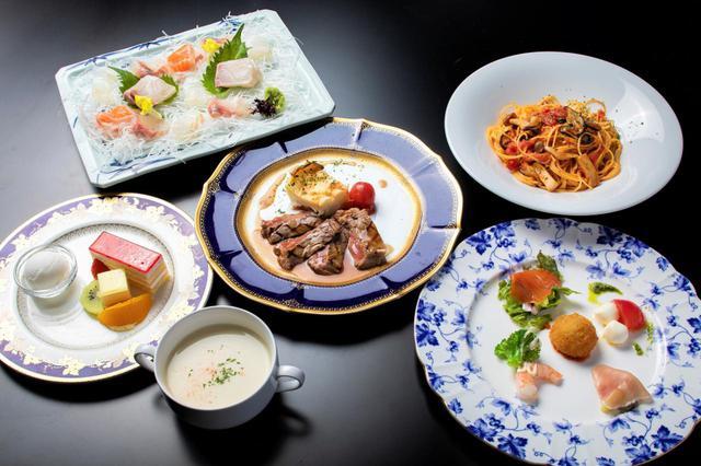 画像: 料理は伊豆の幸をふんだんに使った、お造り付きイタリアン