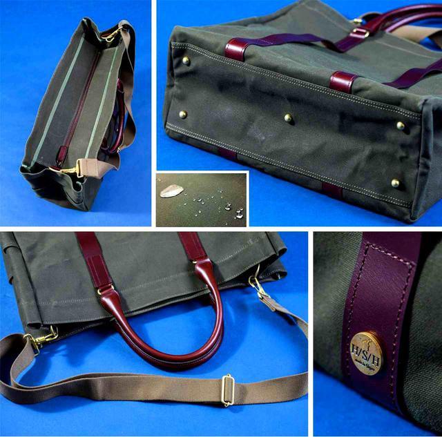 画像: 中の荷物が見えない「フラップジッパー」付き。高級感ある本革の持ち手、肩への負担を減らす柔らか素材のベルトを採用するなど随所にこだわり
