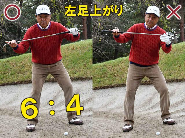 画像: 〇傾斜と肩のラインを平行にして、右足に体重が多くかかるように構える ✖上から打ち込んでボールを上げようとする人も多いが、返ってボールが上がらなくなる