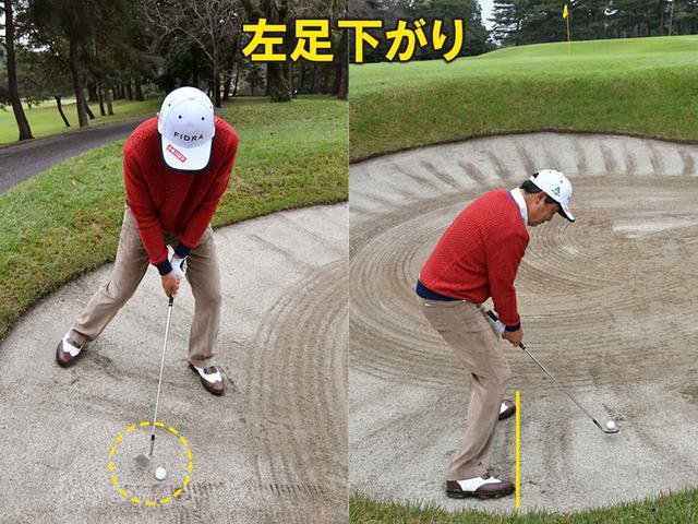 画像: (左)肩のラインを傾斜と平行にする。ボールが上がりやすいように、フェースを軽く開いておこう (右)体重の6割を左足に乗せてスクェアに構える。高さを出すためにフェースを少し開こう