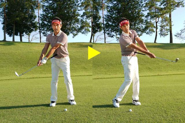 画像: グースネックは、手首を使わず体の回転で打とう