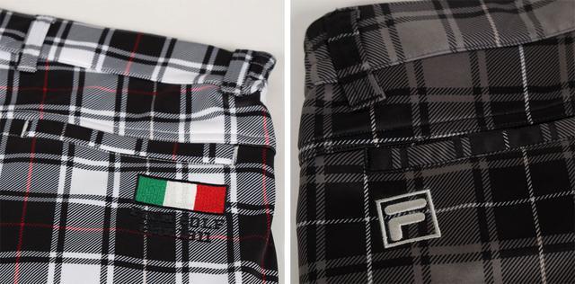 画像: ホワイトチェックには別注のイタリアンフラッグを、グレーチェックはシンプルに「FILA GOLF」の「F」刺繍
