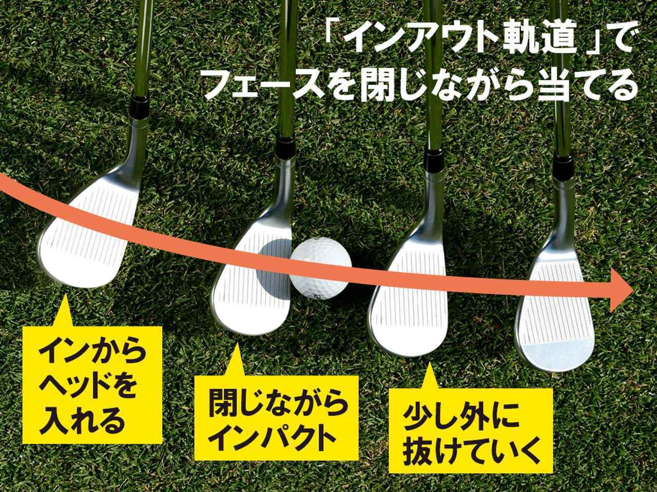 画像: ヘッドがインからアウトに動く間に打つことで、ロフトを立てながら当てることができる