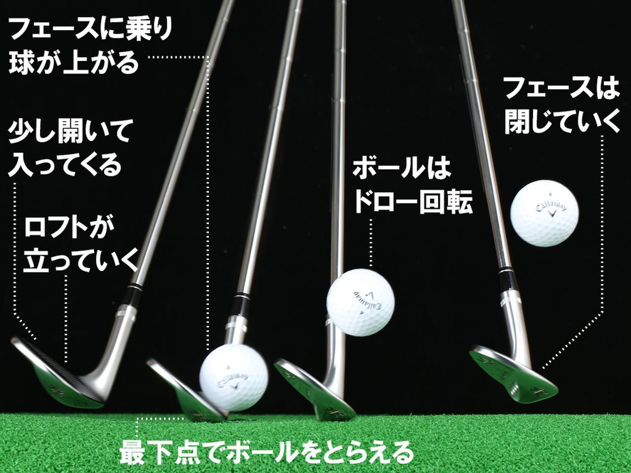 画像: ロフトが立ちながら当たるから、球足が伸びる。「58度のウェッジなを57、56、…と立てながら当てるイメージです」(石川)