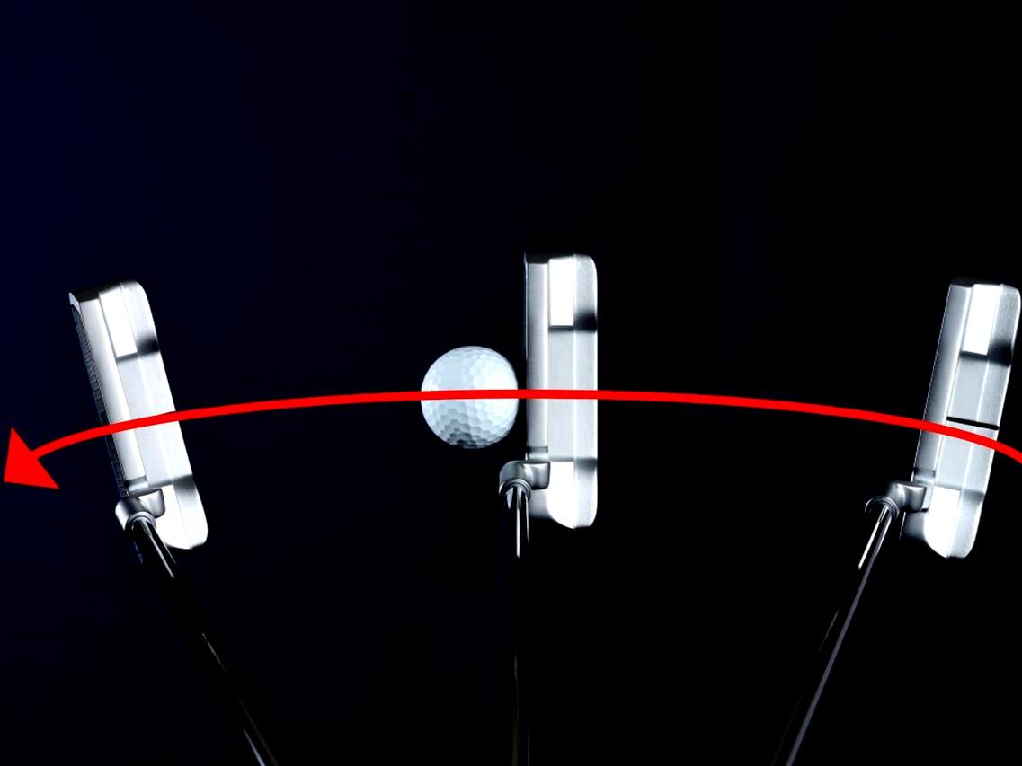 画像1: フェースを開閉しながらストロークすると、ヘッドが低く長く動いてボールをゾーンでとらえられる