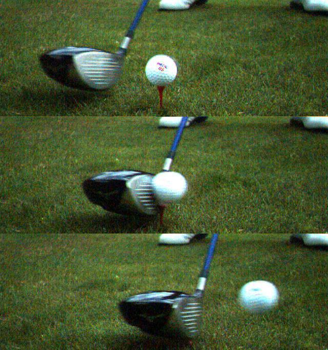画像: フェースの高い位置でとらえれば、ヘッドは当たり負けするが、ロフトを立てていくインパクトだから球を押せて当たり負けしない(2008年、陳清波のインパクト)