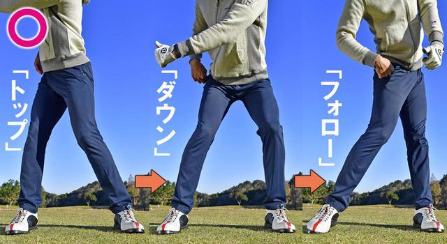 画像3: ①左股関節がストッパーになってヘッドが走る