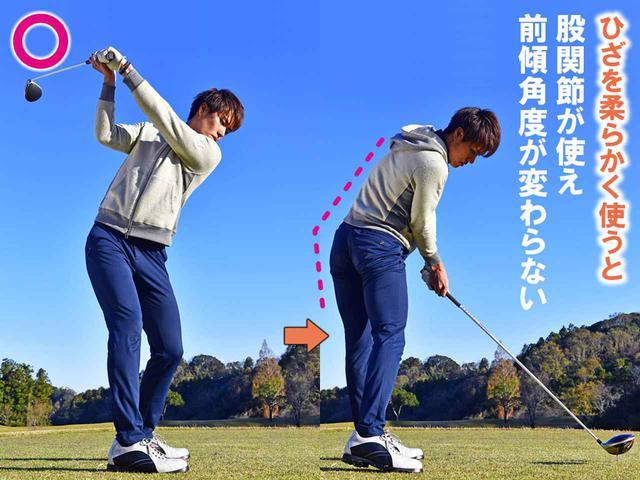 画像1: ①左股関節がストッパーになってヘッドが走る